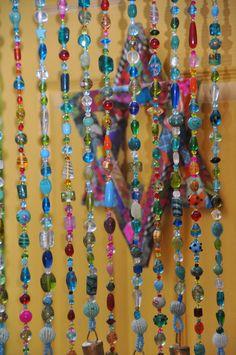 Blue Hanging Door Beads Bead Curtain Glass Beaded Turquoise & How To Hang Beaded Door Curtains | Integralbook.com