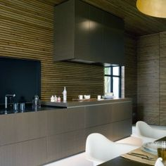 Modern Kitchen with Striped Wall Panel Decor