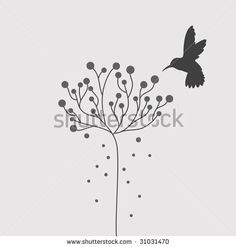 Tattoo idea, except 3 hummingbirds on palm tree or cherry blossom tree