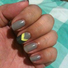 Easy-peasy #manicure: gray, yellow, and slate chevron. @wondrouslypolished is to thank for this design. September 2, 2013 #ManicureMonday #manicure #nails #nailpolish #nailart
