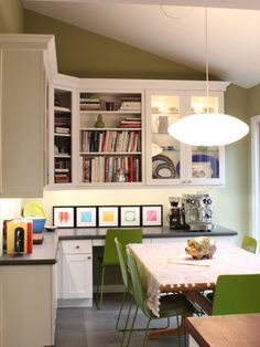 Beautiful craft room shelving with molding