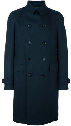 Z Zegna Double Breasted Coat - Farfetch Mens Overcoat, Double Breasted Coat, Blue Wool, Dark Blue, Mens Fashion, Stylish, Cotton, Jackets, Shopping