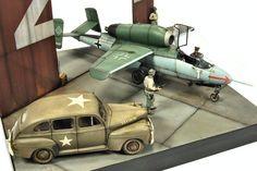 """""""Behind Hangar's Doors"""" by Joaquin G Gazquez. 1/48 scale Heinkel He162. #Luftwaffe #diorama"""