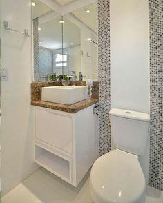 Boa tarde! Que tal esse banheiro/lavabo pequeno e clean? Eu achei o máximo, muito bonito e funcional, uma ótima inspiração para quem tem um banheiro pequenino. 📷 Pinterest #blogmeuminiape #meuminiape #apartamentospequenos #inspiração #banheiro #lavabo #banheiropequeno #decoração