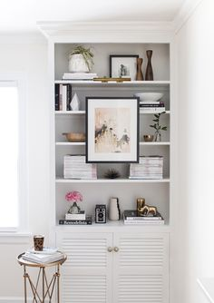 Mounting and Lighting Art on Bookshelves | Grey background