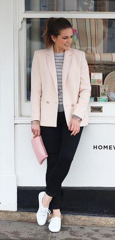 Blush Blazer Outfit + Grey Cashmere Jumper + Black Jeans + White Keds