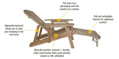 Features for Adjustable Cedar/Fir Adirondack Chair, Model# KMGY1101
