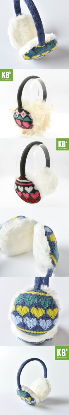 2017 KBB Spring    3 Colors Heart Pattern Fashion Lady Children Kids Women Men Knit Warm Plush Faux Fur Winter Earmuffs