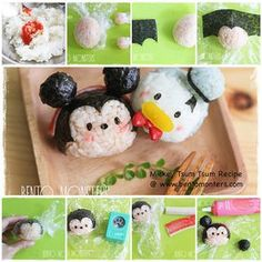 Bento Monsters shows you step-by-step photos on how to make Mickey and Donald