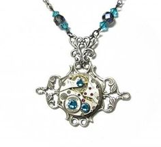 Steampunk Necklace Antiqued Silver Toned Victorian Filigree Charm Finished with A GORGEOUS Jeweled Watch Movement -by Mechanique Steampunk by MechaniqueSteampunk for $58.50