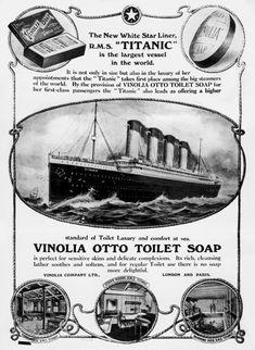 The Titanic - advertisement on Vinolia Otto Toilet Soap Rms Titanic, Titanic Photos, Titanic Ship, Titanic History, Titanic Movie, Vintage Advertisements, Vintage Ads, Vintage Postcards, Vintage Images