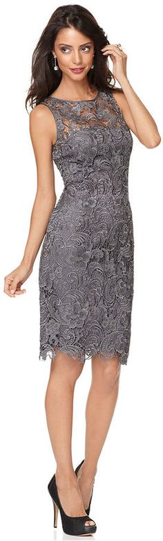 Adrianna Papell Petite Sleeveless Lace Sheath on shopstyle.com