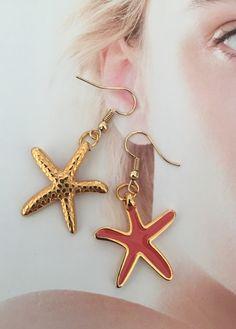 Star Earrings, Hoop Earrings, Plating, Enamel, Coral, Stars, Gold, Jewelry, Polish