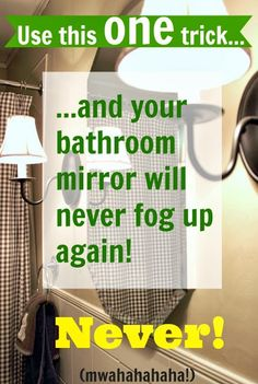 How to Keep Your Bathroom Mirror FogFree! The Creek Line House is part of House cleaning tips - Say goodbye to foggy mirrors in your bathroom, this trick will keep your bathroom mirror fog free even after the hottest showers It really works! Household Cleaning Tips, House Cleaning Tips, Spring Cleaning, Cleaning Hacks, Cleaning Recipes, Norwex Cleaning, Cleaning Cloths, Green Cleaning, Cleaning Supplies