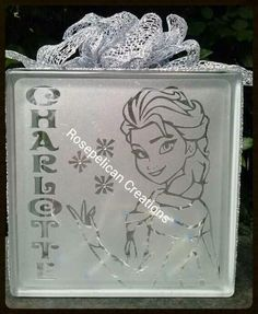 Frozen glass light block. Vinyl cut using the Silhouette Cameo by Rosepelican Creations. rosepelican@hotmail.com