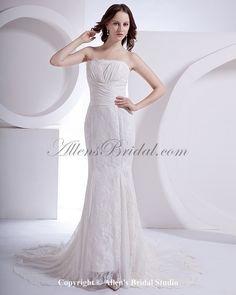 Chiffon Strapless Court Train Sheath Wedding Dress with Lace Jacket