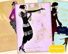 1920s Fashion Plate Images -- Use these images for DIY Gift Tags.  Twenties Girls Collage Sheet ATC size for DIY by RevintagedArt, $2.90