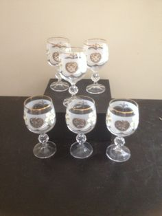 Gold Rimmed and Etched Glasses by MelsEstateSale on Etsy
