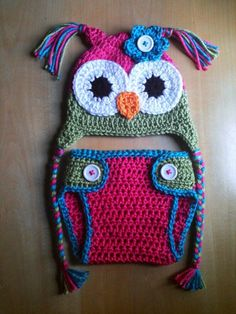 ♥Newborn Baby Girl♥PINK BLUE GREEN Crochet OWL Hat n Diaper Cover Set