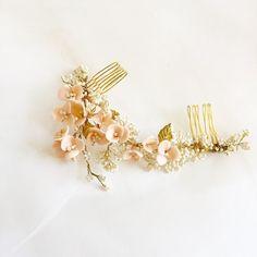 Blush Wedding Hair Comb Blush Hair Flowers Bridal от amuandpri