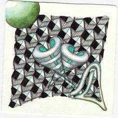 Zentangle insprired art aus den Mustern Loev, Rautyflex und Eigrene gezeichnet von Ela Rieger, CZT, für die Diva Challenge Nr. 258.