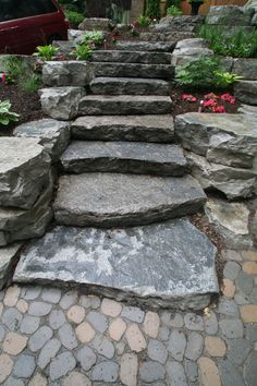 Rock Garden Ideas for Front Yard, Rock Wall Garden Ideas, Rock Garden Fountain Ideas Garden Ideas River, Garden Steps, Garden Paths, Rocks Garden, Landscaping With Rocks, Backyard Landscaping, Landscaping Ideas, Patio Ideas, Stone Landscaping