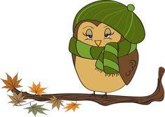 Colorful Clip Art For The Fall Season: Fall Owl Female Owl Clip Art, Owl Art, Bird Art, Autumn Trees, Autumn Leaves, Spotted Owl, Fall Owl, Paper Owls, Owl Crafts