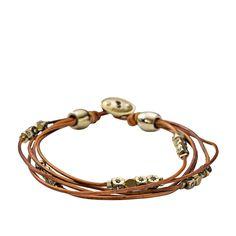 FOSSIL® New Arrivals Jewelry:New Arrivals Multi-Strand Wrist Wrap – Cognac JA5797