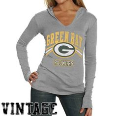 Junk Food Green Bay Packers Ladies Ash Vintage Hoody T-shirt