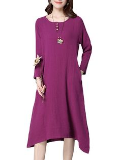 Sale 21% (28.59$) - Vintage Women Solid Long Sleeve Loose Cotton Dress
