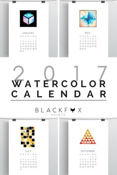 2017 Watercolor calendar. Printable calendar. Watercolor geometric designs, a creative 2017 calendar. If you, like me, love geometry, watercolors and minimal design you will love this 2017 Printable Monthly Calendar. This one of a kind, geometric and creative calendar and design piece, will transform your house into a modern and unique home.