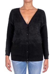 PINKO - Max cardigan AVIGNONE in lana angora e costine - Nero - Elsa-boutique.it ♥ #Pinko