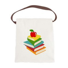books and apple school design Canvas Lunch Bag