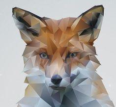 WINTER FOX Modern Art 11 x 14 Polyhedra by fatcatempire on Etsy