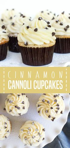 Cannoli Cupcakes are the perfect desserts to add to your holiday baking list! It is made with light cinnamon cake and a creamy mascarpone frosting to create a treat that you wont be able to resist. Make some for your Christmas parties! Recipes Using Fruit, Best Dessert Recipes, Vegan Recipes Easy, Cupcake Recipes, Easy Desserts, Baking Recipes, Delicious Desserts, Cupcake Cakes, Cupcake Ideas
