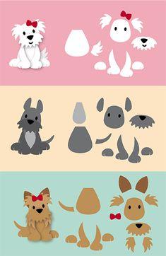 Eline Pellinkhof: Puppy's; variaties met schema's Eline Pellinkhof: Puppies; variations with schedules Puppy Crafts, Paper Punch Art, Punch Art Cards, Marianne Design Cards, Dog Cards, Animal Cards, Felt Toys, Stuffed Animal Patterns, Felt Ornaments