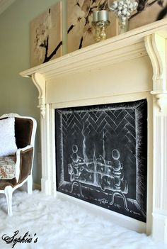 Chalk it Up: a Dozen Creative Chalkboard Ideas Fake Fireplace, Decorative Fireplace, Fireplace Ideas, Faux Fireplace Diy Cardboard, Faux Fireplace Insert, Unused Fireplace, Fireplace Drawing, Fireplace Makeovers, Fireplace Cover