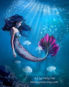 Mermaid Art Print Blue and Pink Mermaid Artwork by beafairytale Fantasy Portraits, Portraits From Photos, Mermaid Artwork, Mermaids And Mermen, Merfolk, Ocean Beach, Beach Themes, Fantasy Art, Art Prints