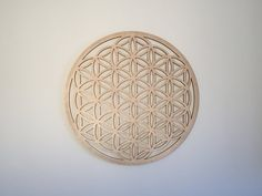FLOWER OF LIFE carved on wood wall decoration