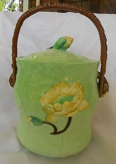 Carlton Ware Water Lily Biscuit Barrel Green 1937