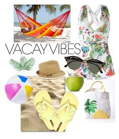 """""""Beach Please"""" by pramesvvari on Polyvore featuring Two's Company, WithChic, NOVICA, Ray-Ban, Nine West, IPANEMA, BeachPlease and vacayoutfit"""