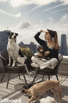 Ariana Grande and her rescue dogs doing a Billboard shoot 2015