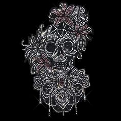 Rhinestones Skull Beaded Sequins Sew On Patches for clothes Applique Bag Hot UK1