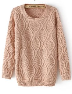 Pink Long Sleeve Diamond Patterned Pullover Sweater