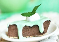 Vegan mint chocolate pie - I made this and brought it to my office and it barely lasted a half hour - SO good. I used VitaSoy Mint Chocolate soy milk as the 'milk of choice'