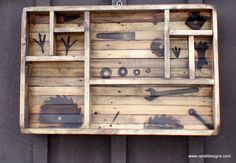 I created something new.. I call it my Mill Box wall art . . .  it was made with all old repurposed wood and fire stenciled a pair of chickens feet... old wrenches and hinges, plus a few old school type washers.    Just something new to bring along to Brimfield Show.  Anthony Raffaele www.carafdesigns.com
