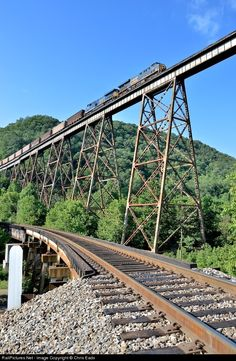 Amazing tall bridge with TRAIN crossing over, Ferry, Virginia, USA. U Bahn Station, Train Station, Railroad Bridge, Railroad Tracks, Train Car, Train Tracks, Locomotive, Csx Transportation, Railroad Pictures