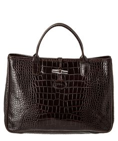 LONGCHAMP Longchamp Roseau Croco Embossed Leather Tote'. #longchamp #bags #leather #hand bags #tote #lining #