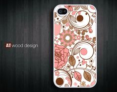 iphone 4 case iphone 4s case iphone 4 cover red white  illustrator  flower graphic design printing. $13.99, via Etsy.