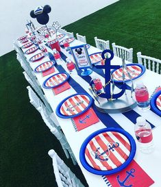 Sailor Mickey First Birthday Party Mickey 1st Birthdays, Mickey First Birthday, 7th Birthday, First Birthday Parties, Birthday Ideas, Sailor Birthday, Sailor Party, Nautical Mickey, Nautical Party